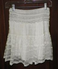 Juniors S Olsenboye Ivory Tiered Lace Skirt Elastic Waist Stretchy