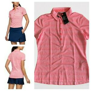 NWT $65 Under Armour Women's Sz Large Zinger Golf Polo Performance Top Pink