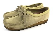 CLARKS Wallabees Chukka Ankle Boots 35395 Sand Leather Beeswax Shoes Womens 10M