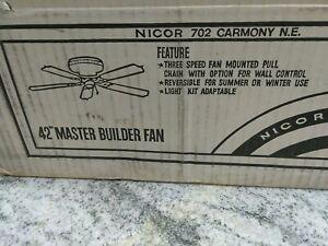 "Nicor IND  Master building  5 WOOD BLADES Ceiling Fan 42""  87014 AB, 3REV(LUBBY"