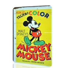 Metal Sign Mickey Mouse Now In Technicolor Classic Vintage Animation Decor Rust