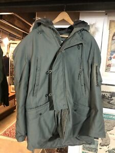 Vintage Military N-3B Extreme Cold Weather Parka Hooded COAT Mens Size (L) USAS