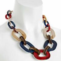 Multicoloured resin large oval link trendy choker costume necklace jewellery