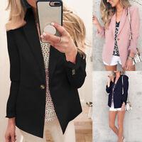 UK Women Long Sleeve Slim Blazer Suit Jacket Ladies Coat Casual Cardigan Outwear