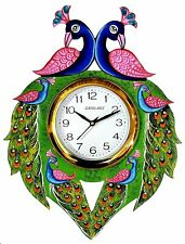 Wooden Wall Clock Peacock Design Multicolor For Home Decor Office Living Room