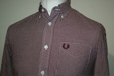 Fred Perry Mahogany Red/White Gingham Check Shirt Size S Excellent Mod Ska Top