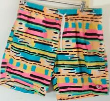Vtg 90's Tropicalia Vibrant Colorful Drawstring Elastic Beach Swim Shorts Sz L