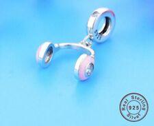 Pink Headphones Music Charm Dangle Pendant Genuine 925 Sterling Silver