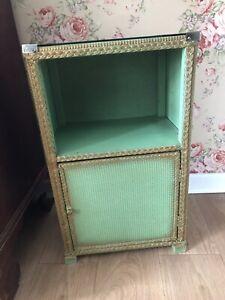 Vintage Green Wicker Bedside Cabinet