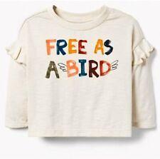 NWT GYMBOREE $20 Girls Off White Free as a Bird Ruffle L/S Graphic Tee T shirt