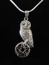 Eule Silver Owl On Pentagram Anhänger Silber Gothic Schmuck - NEU