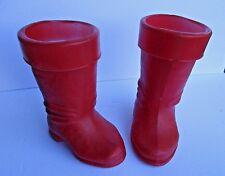 "Santa Boots Plastic Blow Mold Christmas Holiday Decorations Vintage  9"" tall"