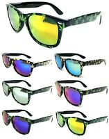 BLACK SQUARE MARIJUANA WEED LEAF SUNGLASSES MIRROR LENSES RETRO HIP HOP VTG 80s