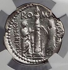 Roman Republic 134BC Rome Lower GRAIN Cost Statue Ancient Silver Coin NGC i59922