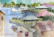 "FRANK WEBB in Maine ORIGINAL watercolor ""Lobster Fest"""
