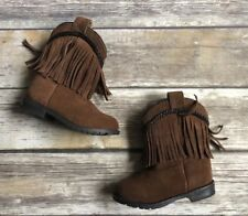 Smoky Mountain Girl's Hopalong Brown Fringe Side Zipper Western Boots Size 8
