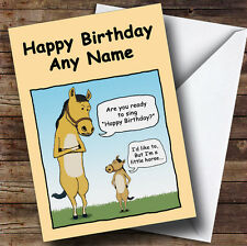 Little Horse Funny Personalised Birthday Greetings Card