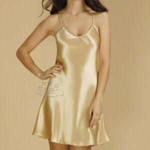 100% Pure Silk women's Adjustable Straps slip Chemise Nightdress Sleepwear YM001