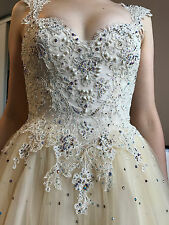 Anny Lee Size 8 Unique Wedding Prom Ornate Corset Dress Fancy Ball Gown