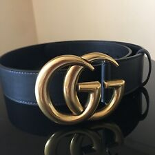 Women Authentic Gucci Double GG Buckle Belt Size 80/32