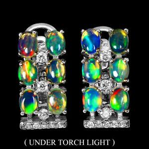 Unheated Oval Fire Opal Rainbow Full Flash 4x3mm Cz 925 Sterling Silver Earrings