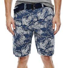 Arizona Belted Flat-Front Shorts Paisley MSRP $38 Size 31, 32, 36