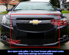 Fits Chevy Cruze LT/LTZ RS Pakage Bolt Over Black Billet Grill Combo 2011-2014