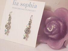 "Beautiful Lia Sophia ""Razzle Dazzle"" Dangle Earrings, Cut Crystals, Nwt"