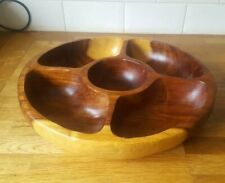 Extra Large Wooden serving bowl  5 sections 15.5 inches