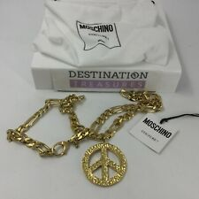 Moschino Couture! Large Heavy Gold Tone Peace Symbol Necklace Pendant Unisex