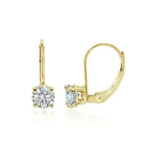 Leverback Solitaire Studs Earrings I1 G 0.40 Ct Round Cut Diamond 14K Solid Gold