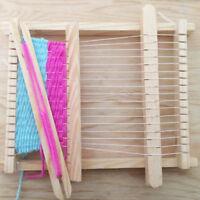 DIY Child Wooden Handloom Developmental Toy Yarn Weaving Knitting Shuttle Loom