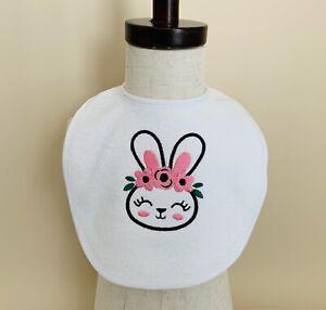 Embroidered Baby Bib Bunny Rabbit Face Eyelashes Flower Crown Pink, Black