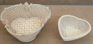 Irish Belleek Rose 4 Strand Woven Shamrock Basket  & 4 Strand Woven Heart Basket