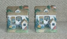 Vintage Stone Thatched Cottage Shaped Bookends