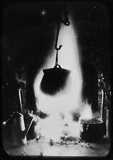 ATMOSPHERIC Glass Magic Lantern Slide CAULDRON ON CAMP FIRE C1910 PHOTO