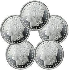 Lot of 5 - Morgan Dollar Design 1 Troy Oz .999 Silver Rounds SKU31047