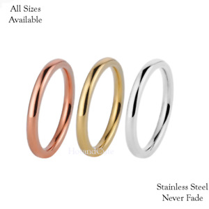 Titanium Stainless Steel Traditional Wedding Band Ring Silver Yellow Rose Gold