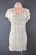 Ya Los Angeles Women's Fitted T-Shirt Dress L Beige Floral Cocktail formal 1017