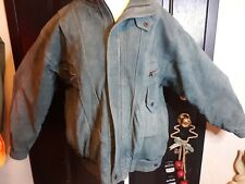 Vintage Retro 80's Born Free Green suede Leather Motorcycle Jacket Size S