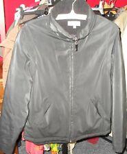 black rubberized pvc jacket size 10, waterproof,hidden hood,padded,zip,great con