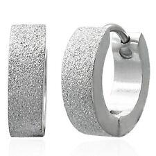 Boucles d'oreilles homme Zense en acier argenté sablé ZE0017