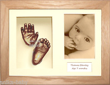 New 3D Baby Casting Kit Unique Christening gift Solid Oak Box Frame Bronze Casts