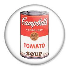 "Andy Warhol Soup 25mm 1"" Pin Badge Button Vintage Retro Pop Art"