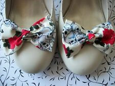 PAIR CREAM SKULL CHAIN ROSE PRINT COTTON FABRIC BOW SHOE CLIPS 50'S ROCKABILLY