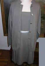 GUCCI Cashmere SUIT Vintage Cardigan Sweater Set Skirt Dress Silver Logo Buttons