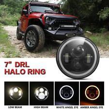 1x7 Inch Round LED Headlights Halo Angel Eyes for 1997-2018 Jeep Wrangler JK JKU