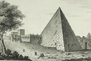 1840 The Pyramid of Cestius in Rome fine original etched print by Orlandini