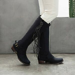 Vintage Womens Tasselled Knee High Boots Chunky Low Heel Pull On Cowboy Boots Sz