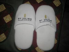 Large Pair ST Julien Hotel & Spa SLIPPERS White Cotton Travel